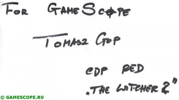 Автограф Томаша Гопа (CD Projekt RED)