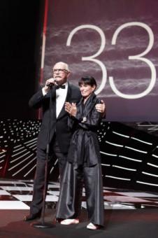 Никита Михалков и Джеральдин Чаплин (33 ММКФ)