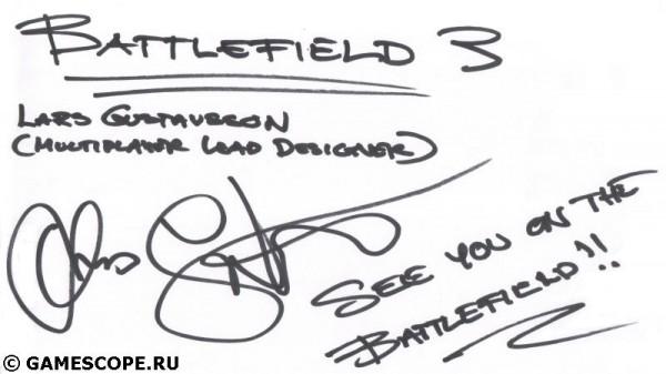 Автограф Ларса Густавссона (EA DICE)