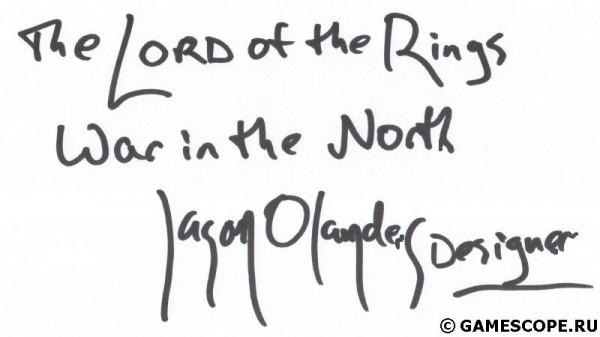 Автограф Джейсона Оландера (Snowblind Studios)